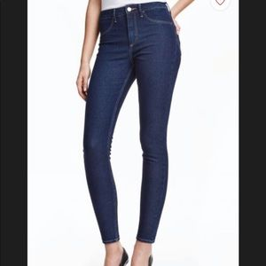 H&M Skinny High Waist Ankle Jeans Dark Wash